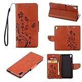 tinyue® Sony Xperia E5 Funda, Cubierta de Billetera de Cuero PU Tapa abatible Funda, Mariposa en Relieve de Vid Cover, para Sony Xperia E5, Marrón