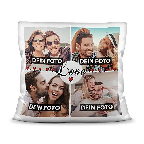 Kissen mit Füllung - Fotocollage selbst gestalten mit Spruch - Love - mit Vier eigenen Fotos - Geschenkidee Fotokissen - Kissen Polyester - Weiß