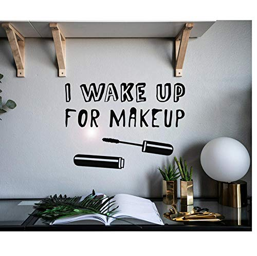 MUXIAND Muurstickers, ontwaken make-up mascara PVC DIY muur Decal Art Home Decor Voor Bed Room Grappig Verwijderbare Living Verjaardagscadeau 78X57cm