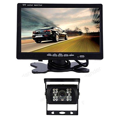 GOFORJUMP 3in1 2.4G Voiture vidéo Adaptateur sans Fil kit 7 Pouces rétroviseur de stationnement Moniteur avec caméra de Vue arrière pour Camion véhicule d'autobus