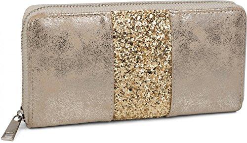 styleBREAKER Geldbörse mit umlaufendem Pailletten Streifen, Reißverschluss, Portemonnaie, Damen 02040056, Farbe:Antik-Gold