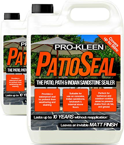 Pro-Kleen PatioSeal Matt Patio Sealer/Sealant (10 litres) for Indian Sandstone, Concrete, Paths, Patios, Slate, Brick, Indoor/Outdoor Hard Floor - Lasts up to 10 Years (2 x 5 litres)