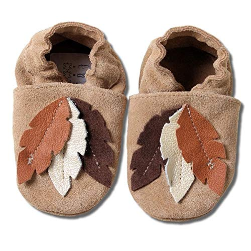 HOBEA-Germany Baby Krabbelschuhe Jungen, Kinderhausschuhe Jungen, Lederschuhe, Schuhgröße:18/19 (6-12 Monate), Modell Schuhe:braune Federn Wildleder