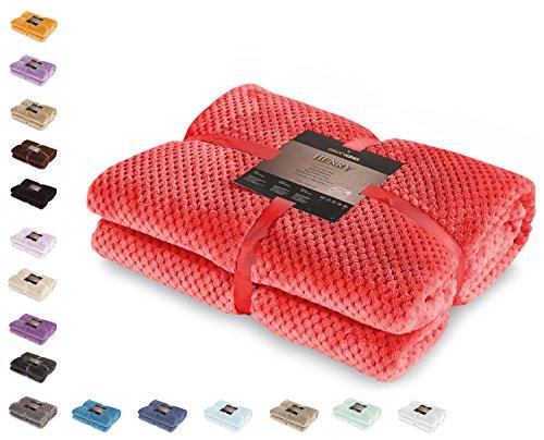 DecoKing 59135 Kuscheldecke 70x150 cm rot Decke Microfaser Wohndecke Tagesdecke Fleece weich sanft kuschelig skandinavischer Stil Henry