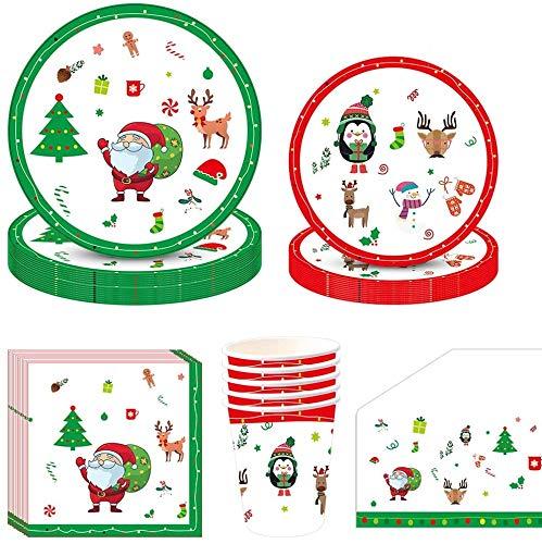 Amycute 81 Pezzi Natale Decorazioni Tavola, Feste di Natale Piatti, Bicchieri, Tovaglioli e Tovaglia, Stoviglie USA e Getta per Feste di Natale (Stile 4)