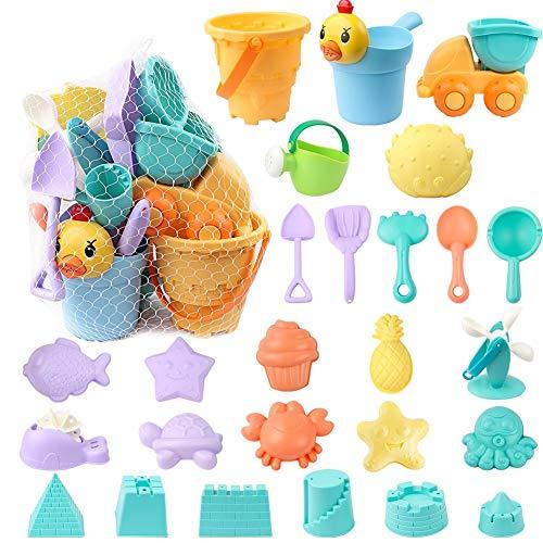 StillCool Strand Sandspielzeug Set mit Strandtasche Mesh, 26 Stück Strandspielzeug für Familie Urlaub mit Spaten Schaufel, LKW, sandkasten Eimer Tier Formen (26 STK)