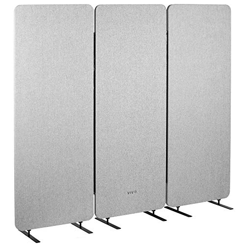 VIVO Freestanding 72 x 66 inch Privacy Panel, Sound Absorbing Cubicle Divider, Acoustic Wall Partition, x3 24 inch Panels, Gray (PP-3-T072G)