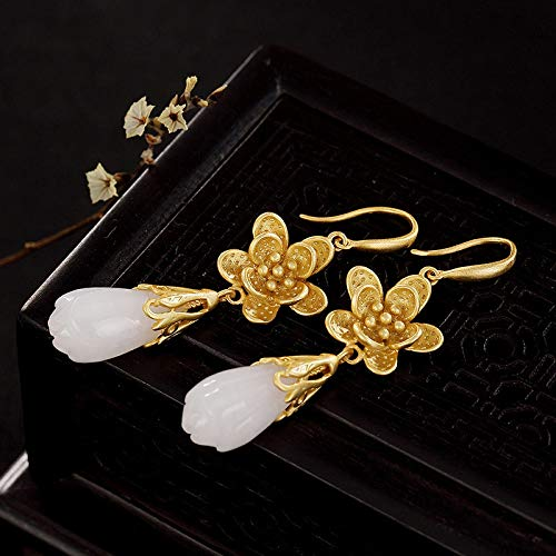 Women'S For Drop Earrings,Classic Fashion S925 Silver Gilded Plum Blossom Natural Hetian Jade Dangle Hook Earrings For Women And Girls Handmade Unique Creative Luxury Women'S Jewelry Gift