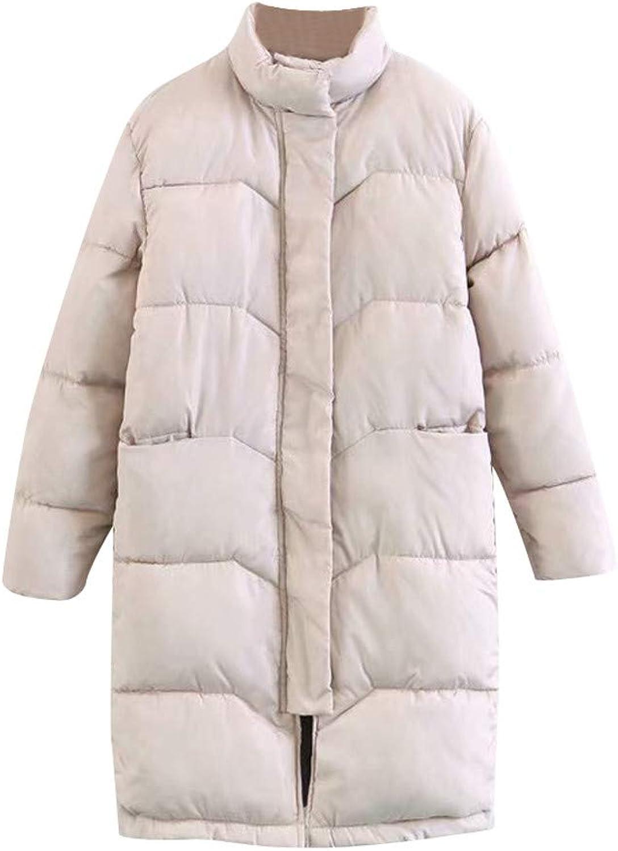 Goodtrade81 Women Winter Warm Coat Stand Neck Thick Warm Slim Long Jacket Overcoat