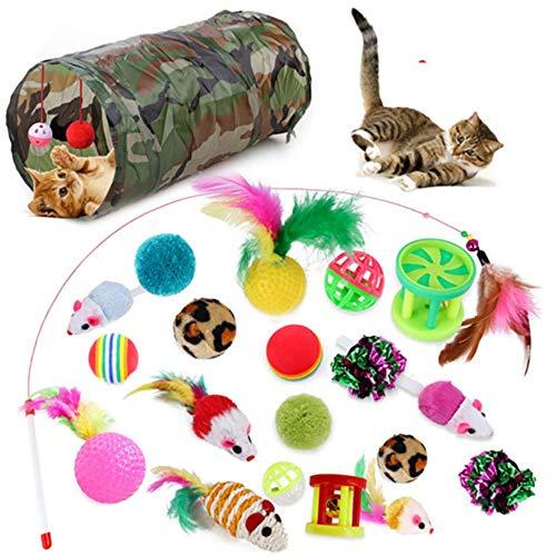 BSDIHRIWEJFHSIE 21 szt. zestaw zabawek dla kota składany tunel kot zabawka zabawa kanał pióro kulki kształt myszy zwierzę domowe kotek pies kot interaktywne materiały do zabawy - 21 szt