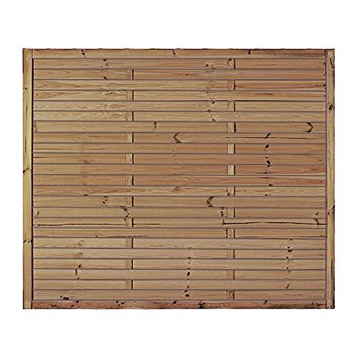 MEIN GARTEN VERSAND Preiswerter Lamellenzaun/Holzzaun in den Maßen 180 x 150 (Breite x Höhe) aus druckimprägniertem Kiefer/Fichte Holz Hamburg II