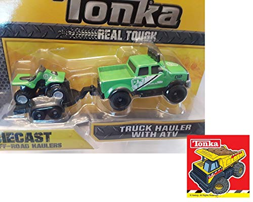 Tonka Diecast Off-Road Haulers. Park Ranger Truck Hauler & ATV with one Sticker Bundle (2 Items)