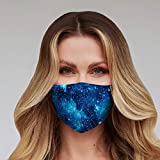 Washable Face Mask with Adjustable Ear Loops & Nose Wire - 3 Layers, 100% Cotton Inner Layer - Cloth Reusable Face Protection with Filter Pocket - Made in USA (Blue Galaxy)