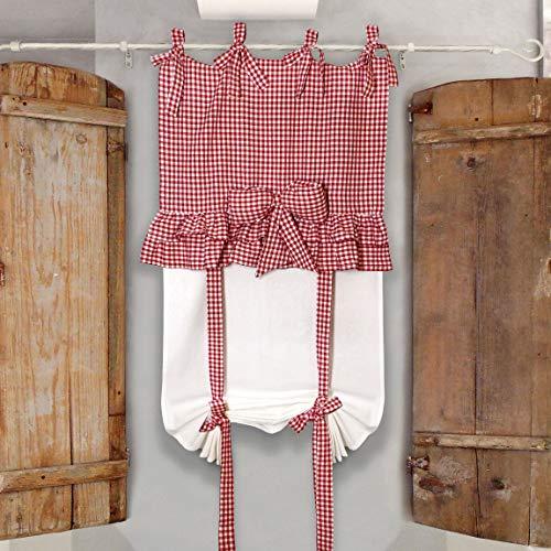 Tenda Finestra con Volant e Fiocco Country Chic 60 x 160 Colore Bianco Rosso
