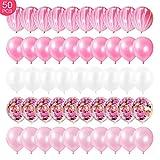 KEPMOV 50 globos de látex con confeti de color rosa y blanco, para cumpleaños, bodas, fiestas de nacimiento, decoración, negocios.
