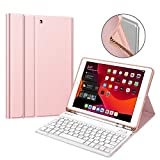 Fintie Keyboard Case for New iPad 7th Generation 10.2 Inch 2019, Soft TPU Back Stand Cover w/Built-in Pencil Holder, Magnetically Detachable Wireless Bluetooth Keyboard for iPad 10.2', Rose Gold