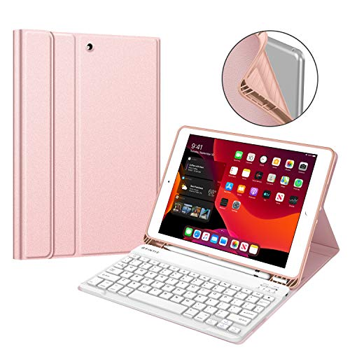 """Fintie Keyboard Case for New iPad 7th Generation 10.2 Inch 2019, Soft TPU Back Stand Cover w/Built-in Pencil Holder, Magnetically Detachable Wireless Bluetooth Keyboard for iPad 10.2"""", Rose Gold"""