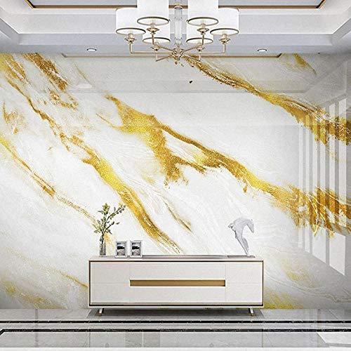 Muurschildering behang 3D reliëf gouden marmeren TV achtergrond muurschildering luxe woonkamer woondecoratie fotobehang-400 * 280cm