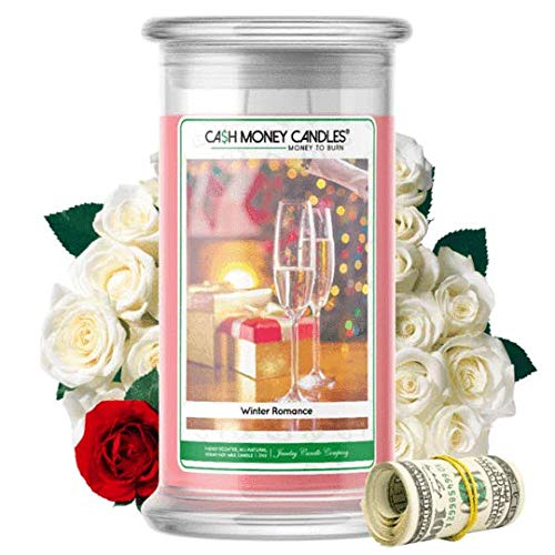 Cash Money Candles | $2-$2500 Inside | Guaranteed Rare $2 Bill | Large Long-Lasting 21oz Jar All Natural Soy Candle | Hand Poured Made in The USA Family Owned (Winter Romance)