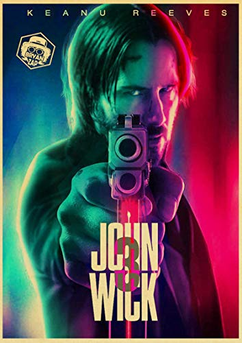 YF'PrintArt Stampe su Tela Vinatge Movie Poster John Wick Art Poster da Parete Home Room Decor Fashion Wall Picture Murale Senza Cornice 50X70Cm -(A1257)