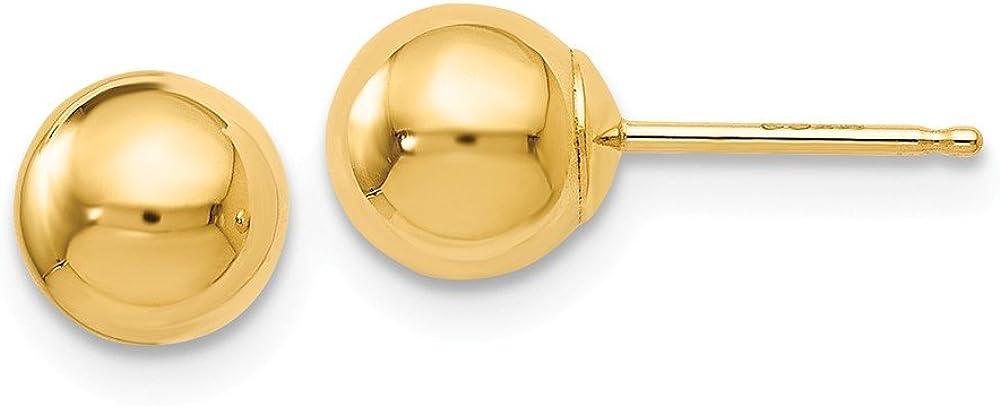 Leslie's 14K Yellow Gold High Polish Finish 6mm Ball Post Earrings