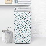 Rayen medium carga frontal secadora con cremallera | funda lavadora impermeable | 84 x 45 x 65 cm | material pva, blanco-azul