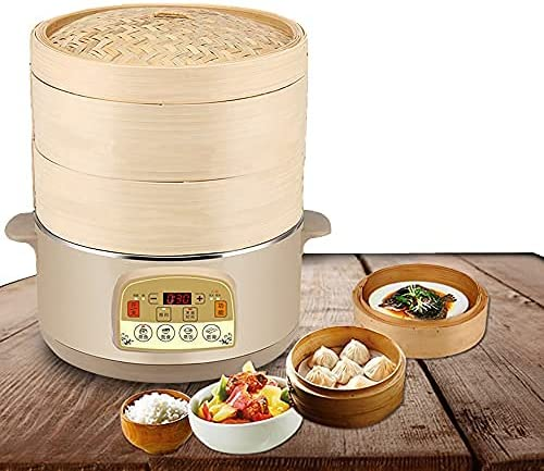 Electric Bamboo Steamer with Steam Cloth, Chop sticks, 60 Minute
