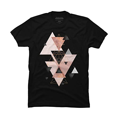 ffb530e0c Design By Humans Geometric Triangles in Blush and Rose Gold Men's Graphic T  Shirt