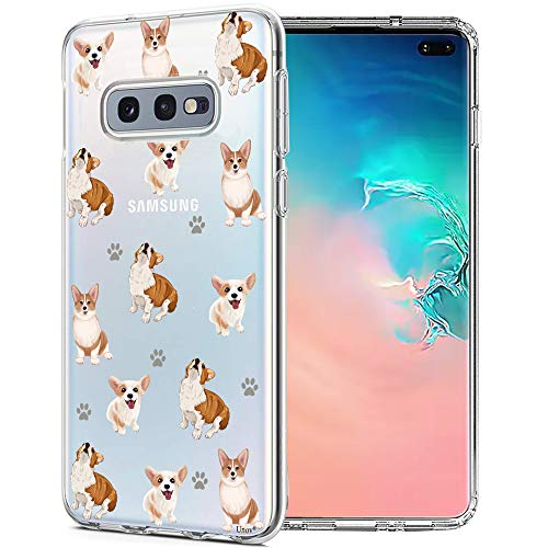 Unov Galaxy S10e Case, Clear with Design Soft TPU Shock Absorption Slim Embossed Pattern Protective Back Cover for Samsung Galaxy S10e 5.8in (Puppy Dog)