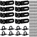 STARHAND Door Hasp Latch, 4 Inch Security Padlock Hasp, Stainless Steel Door Clasp Hasp with 9 Screws for Gates, Garage Doors, General Security and Privacy, Matte Black, 8 Pack