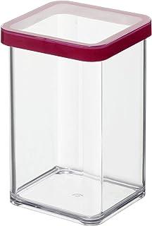 Rotho Loft boîte de rangement carrée de 1l avec couvercle et scellé, Plastique (PP) sans BPA, transparent / rouge, 1l (10,...