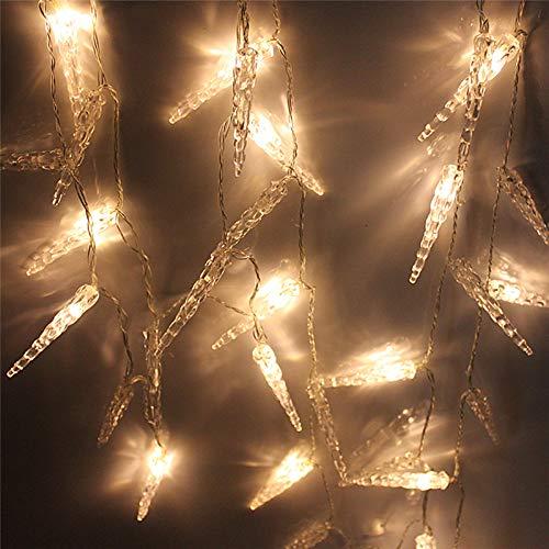 Hengda LED Eiszapfen,10M 40 LED Lichterkette 8 Modi Außenbeleuchtung Wasserdichte und Speicherfunktion für Zimmer Weihnachten Dekoration (Warmweiß)