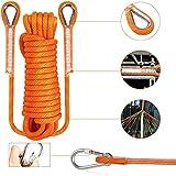 QHY Cuerda De Escalada con 2 Mosquetones Cuerda De Paracaídas De Rescate Cuerda De Escape para Actividades Al Aire Libre 16mm (Color : Orange, Size : 60m*16mm)