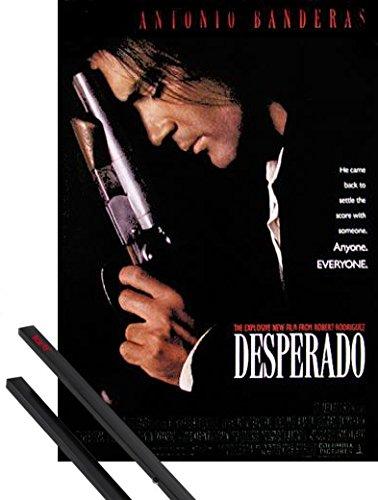 1art1 Desperado Poster (98x68 cm) Antonio Banderas, Salma Hayek, Quentin Tarantino Inklusive EIN Paar Posterleisten, Schwarz