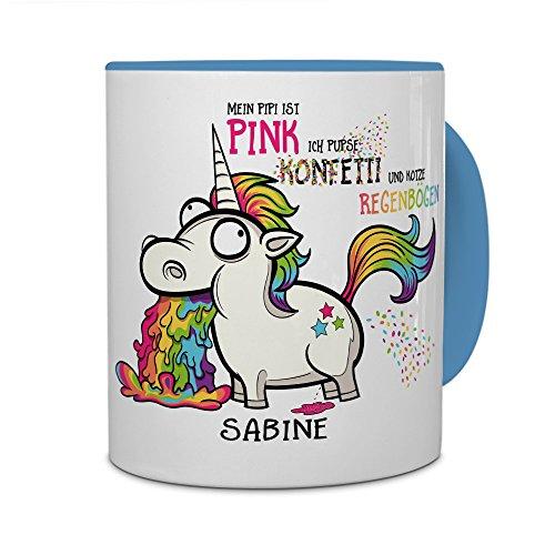 printplanet® Tasse mit Namen Sabine - Motiv Einhorn - Namenstasse, Kaffeebecher, Mug, Becher, Kaffeetasse - Farbe Hellblau