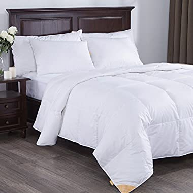 Puredown Lightweight White Goose Down Comforter Duvet Insert, 300 Thread Count, 100% Cotton Fabric, 600 Fill Power, King Size, White