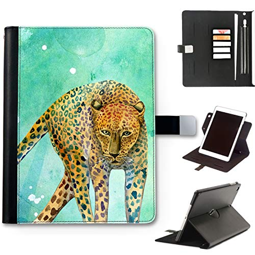 Cheetah Cat Case For Apple iPad Air 4 (2020) 10.9 inch, Watercolour Art Print leather iPad Case, side flip wallet case, 360 swivel folio cover
