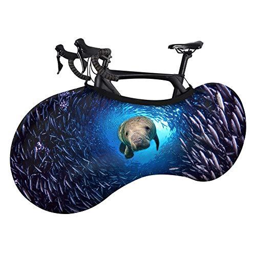Cubierta para rueda de bicicleta de montaña, cubierta de almacenamiento para bicicleta, cubierta elástica a prueba de polvo, ropa de coche, diseño de tiburón marino, estampado de delfín y tiburón, para bicicleta de montaña, talla única