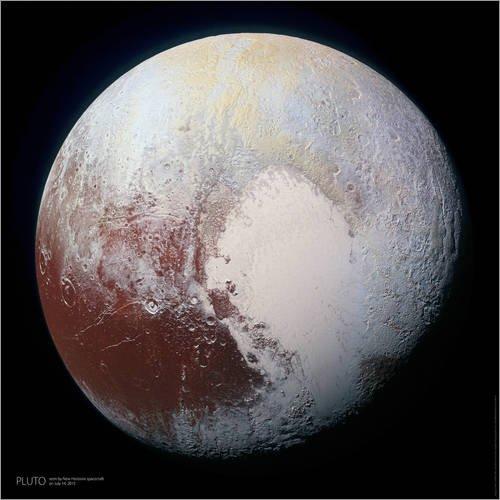 Posterlounge Holzbild 30 x 30 cm: Pluto, Aufnahme von New Horizons (2015) von Sascha Kilmer