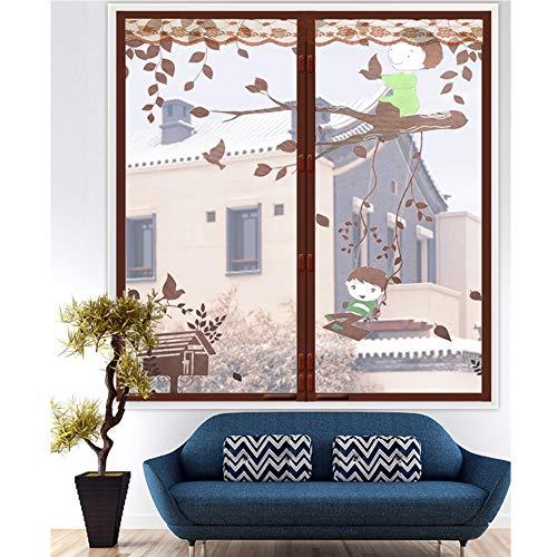 XGXQBS raamfolie, raamgordijn, zelfklevend, insectenwerend net 100x150cm(39x59inch) Bruin