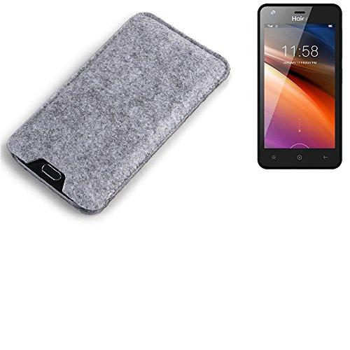 K-S-Trade® Filz Schutz Hülle Für Haier G21 Schutzhülle Filztasche Filz Tasche Case Sleeve Handyhülle Filzhülle Grau