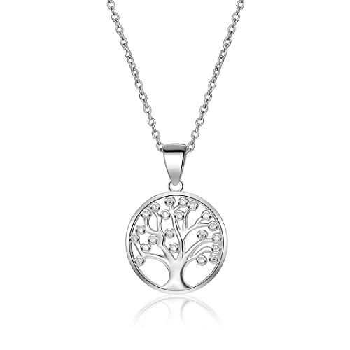 Árbol de la vida collar 925 plata de ley AAA Zircon cúbico collares familia árbol Yggdrasil