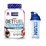 USN Diet Fuel Ultralean Weight Control Meal Replacement Shake Powder, Strawberry Cream- 2kg with USN shaker 700ml