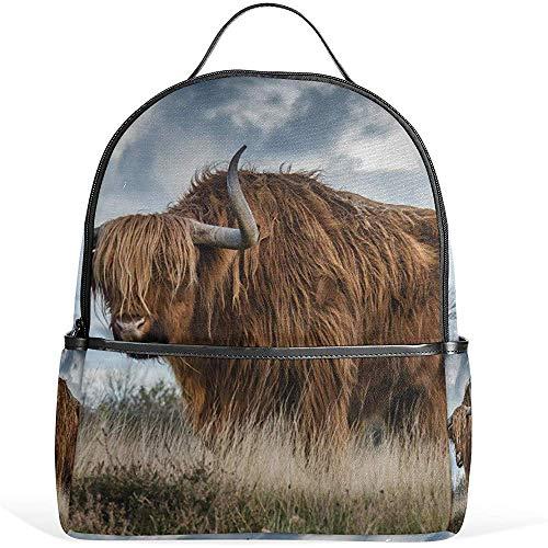 Macutos De Senderismo,Bull Landscape Nature Mammal Backpack Casual Daypack School College Travel Bag para Adolescentes Niños Niñas