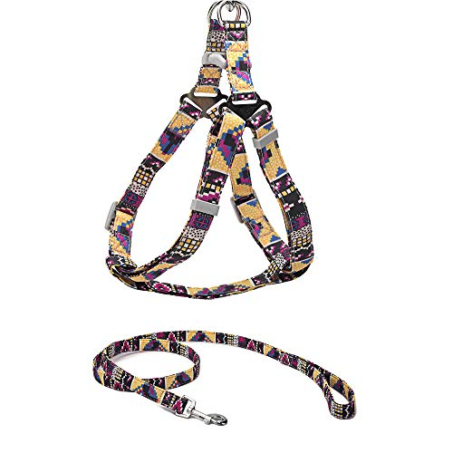 Jiu du No Pull Dog Harness and Leash Set, Adjustable Easy Walking Escape-Proof Step in Puppy Vest Harnesses with Leash, Quick Fit Soft Nylon Pet Halter for Small, Medium, Large Dogs, Purple Yellow S