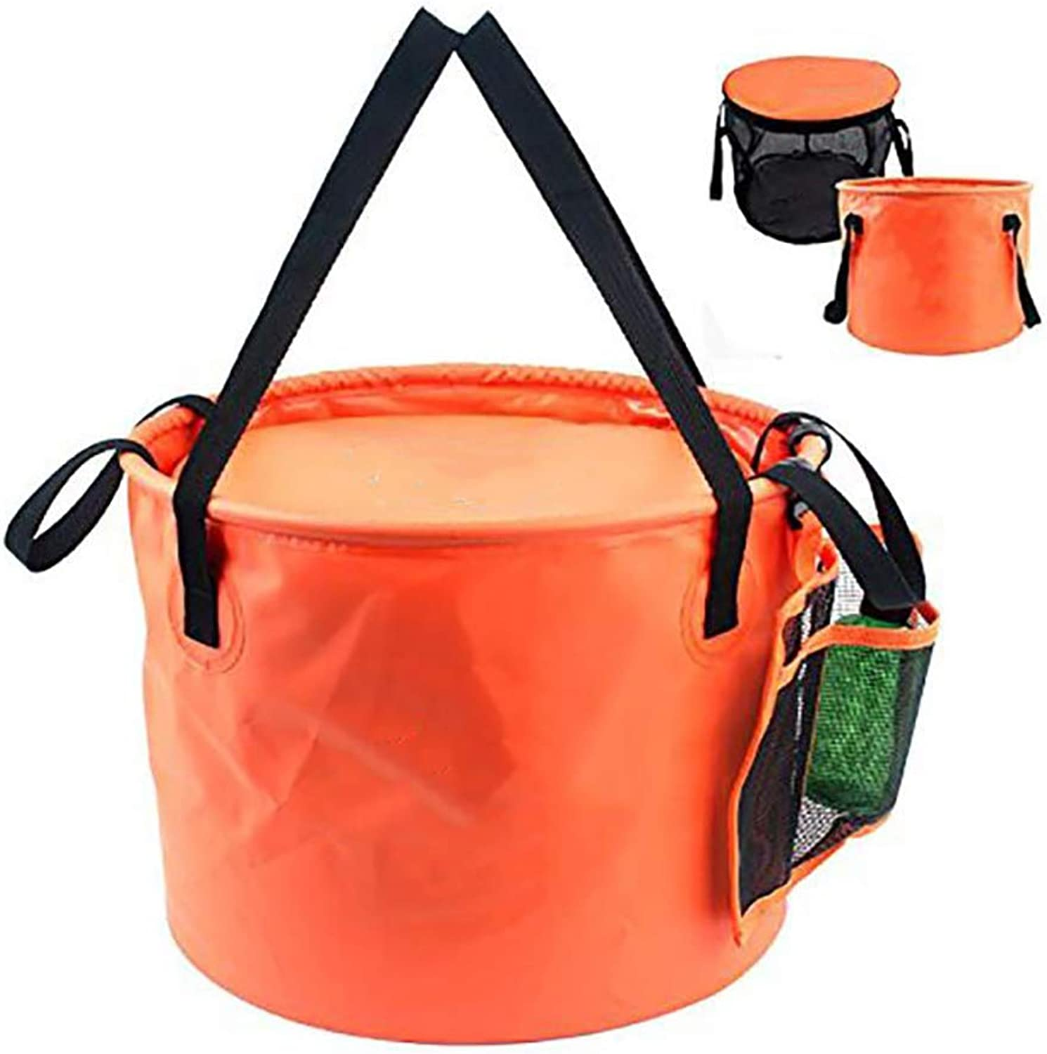 Outdoor Folding Double Drain Basket, 4 in 1 PVC Collapsible Bucket Foldable Camping Water Bucket,Fishing Cleaning Bucket Car