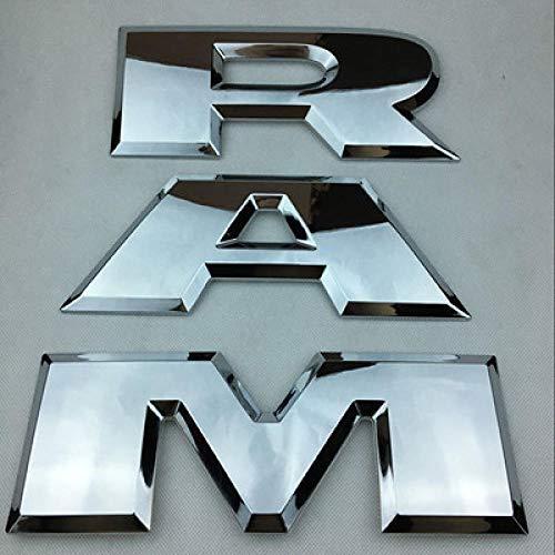 WANGLEISCC für Dodge RAM 1500 2015 2016 2017 2018, 1 Satz RAM Mattschwarz Chrom RAM 3D Buchstaben Tailgame Emblem Hinteres RAM Aufkleber-Chrom