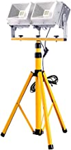 Portable Floodlight Work Light, 100W 10000 LM Construction Site Lamp with Adjustable Tripod Connector 5M Cable, IP65 Water...