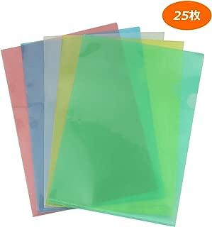 クリアホルダー a4 クリアファイル ファイル ケース 通知表ホルダー カラフル 透明 薄型 書類 資料 収納 バッグ カバン 5色セット 25枚
