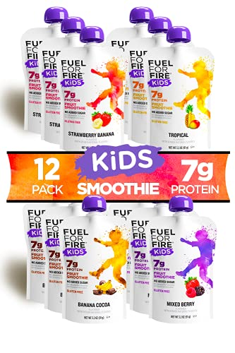 Fuel For Fire KIDS! Variety (12 Pack) Fruit & Protein Smoothie Squeeze Pouch | Nutritionist Approved, Peanut Free, Ready to Eat Snack | Gluten Free, Soy Free, Kosher | Less sugar than most applesauce